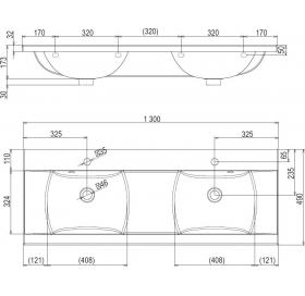 Тумба для двойной раковины Ravak SD CLASSIC 1300, 130 см, с высоким ящиком, белый глянец, X00000042