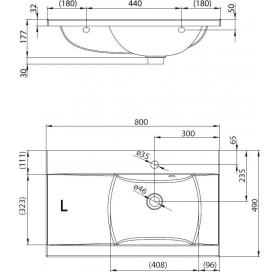 Раковина Ravak CLASSIC 800, 80x49 см, правая, XJDP1180000