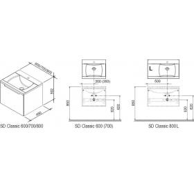 Тумба для раковины Ravak SD CLASSIC 800, 80 см, с высоким ящиком, белая, левая, X000000350