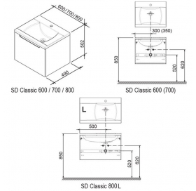 Тумба под умывальник Ravak SD 800-L CLASSIC II белая, X000000910
