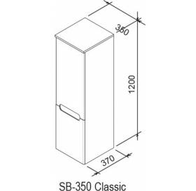 Шкаф боковой Ravak SB 350 CLASSIC L латте/белый, X000000941