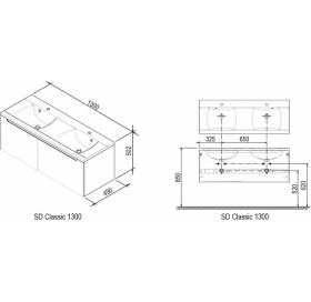 Тумба под умывальник Ravak SD-1300 CLASSIC латте/белая, X000000943