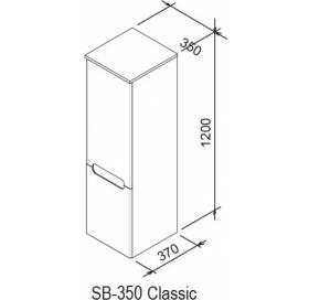 Шкаф боковой Ravak SB 350 CHROME R каппучино/белый, X000000967