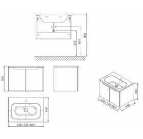 Шкафчик под умывальник Ravak SDD Classic 600 белый, X000001085