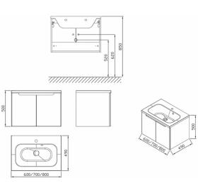 Шкафчик под умывальник Ravak SDD Classic 700 белый, X000001089