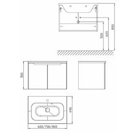 Шкафчик под умывальник Ravak SDD Classic 700 латте/белый, X000001091