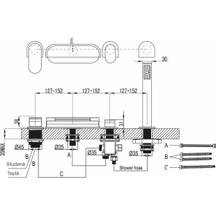 Смеситель Ravak для ванны, водопад CR, X070073