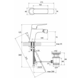 Смеситель для биде Ravak Classic с открыванием стока, X070082
