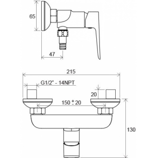 Настенный смеситель для душа Ravak Classic, X070084
