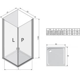 Душевая штора Ravak CHROME CRV 1 - 100 Transparent, полированный алюминий, безопасное стекло, 1QVA0C