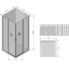 Душевая штора Ravak CHROME CRV 2 - 120 Transparent, белый профиль, безопасное стекло, 1QVG0100Z1