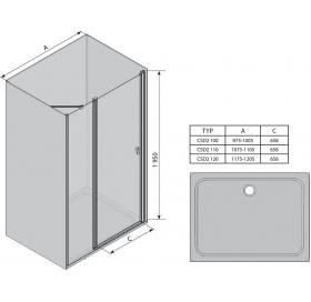 Душевая дверь Ravak CHROME CSD 2 - 100 Transparent, полированный алюминий, безопасное стекло, 0QVACC