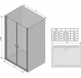 Душевая дверь Ravak CHROME CSDL 2 - 90 Transparent, полированный алюминий, безопасное стекло, 0QV7CC