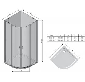 Угловая душевая кабина Ravak CHROME CSKK 4 - 80 Transparent, профиль сатин, безопасное стекло, 3Q140