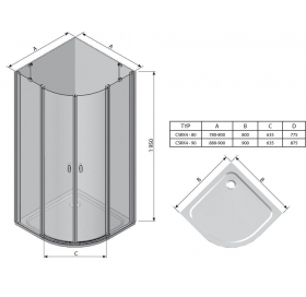 Душевая штора Ravak CHROME CSKK 4 - 90 Transparent, профиль сатин, безопасное стекло, 3Q170U00Z1
