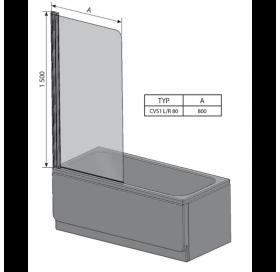Штора для ванны Ravak CVS1 - 80 L TRANSPARENT сатин  профиль, 7QL40U00Z1