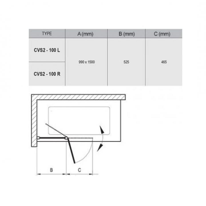 Шторка для ванны Ravak CVS2 - 100 L TRANSPARENT профиль сатин, 7QLA0U00Z1
