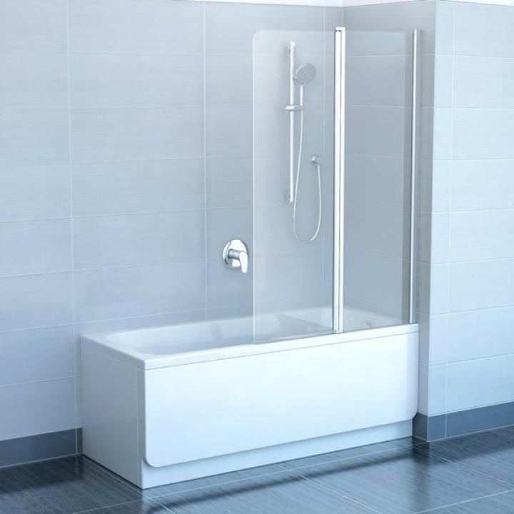 Шторка для ванны Ravak CVS2 - 100 R TRANSPARENT профиль сатин, 7QRA0U00Z1