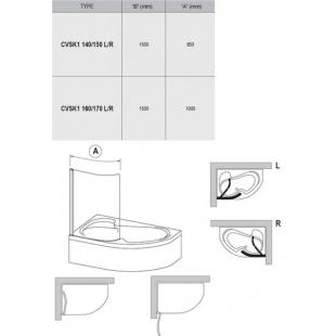 Шторка для ванны Ravak CVSK1 Rosa 160/170 R TRANSPARENT белый профиль, 7QRS0100Y1