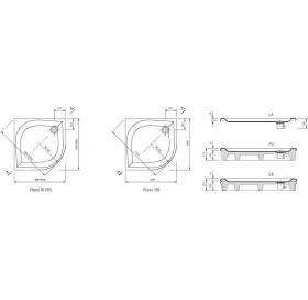 Поддон для душевых кабин Ravak GALAXY ELIPSO 80 PAN, полукруглый, акрил, A224401410