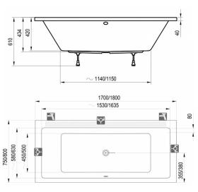 Панель для ванны CAMPANULA II 180 фронтальная, SONATA, FRESIA, NERIDA, CLASSIC,VANDA II, CZ001Y0A00