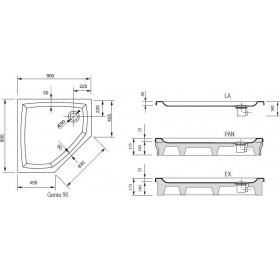 Поддон для душевых кабин Ravak GENTA 90 EX, пятиугольный, акрил, A327701310