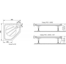 Панель для поддона Ravak GENTA 90 PRO, пятиугольный, с креплением, XA337001010