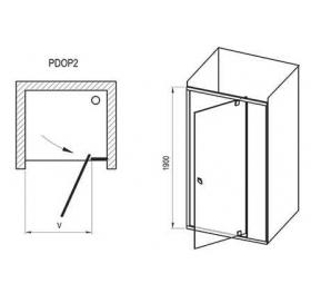 Душевые двери Ravak PIVOT PDOP 2 - 100 Transparent, белый профиль, безопасное стекло, белая ручка, 0