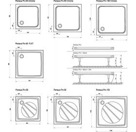Поддон для душевых кабин Ravak GALAXY PERSEUS 90 PRO Chrome, квадратный, литой мрамор, XA047701010