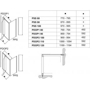 Стенка для душевой кабинки Ravak PIVOT PPS-90 Transparent, белый профиль, стекло, 90G70100Z1