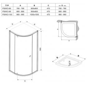 Угловая душевая кабина Ravak PIVOT PSKK 3 - 90 Transparent, стекло,белый профиль, 37677101Z1