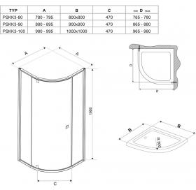 Угловая душевая кабина Ravak PIVOT PSKK 3 -  90 Transparent, стекло,полированный алюминий, 37677C00Z