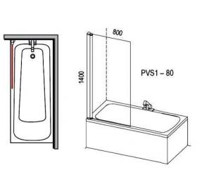 Шторка для ванны Ravak PVS1 - 80 TRANSPARENT белый профиль, 79840100Z1