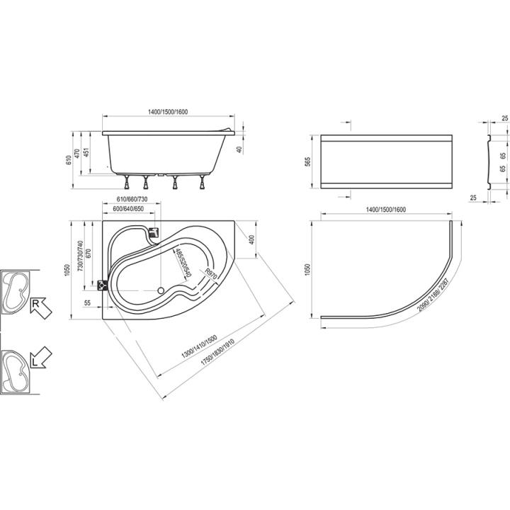 Ванна акриловая Ravak ROSA I 160 CM01000000