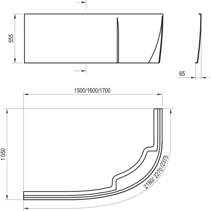 Панель для ванны Ravak ROSA II L 160 асимметричная (CZM1200A00)