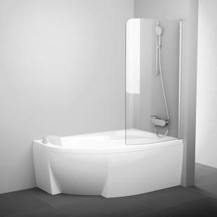 Шторка для ванны Ravak CVSK1 Rosa 160/170 L TRANSPARENT белый профиль, 7QLS0100Y1