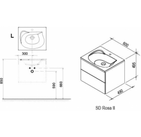 Тумба под умывальник Ravak SD 600 ROSA II белая, X000000924