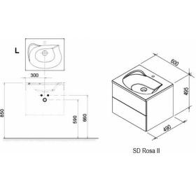 Тумба под умывальник Ravak SD 600 ROSA II каппучино/белая, X000000926