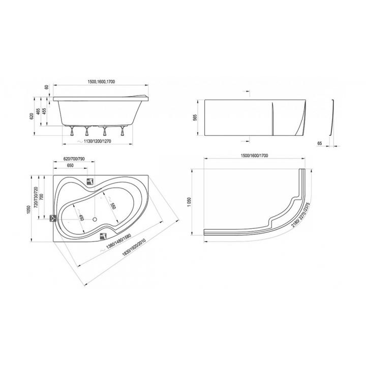 Ванна акриловая Ravak ROSA II 150 CJ21000000 R