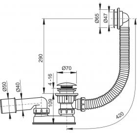 Редуктор сифона 40/50 мм для поддона Ravak SABINA 80/90 LA, X01304