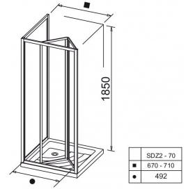 Душевые двери Ravak SUPERNOVA SDZ 2 - 70 Grape, стекло, 01V10100ZG