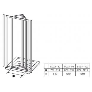 Душевые двери Ravak SUPERNOVA SDZ 3 - 80 Grape, стекло, 02V40100ZG