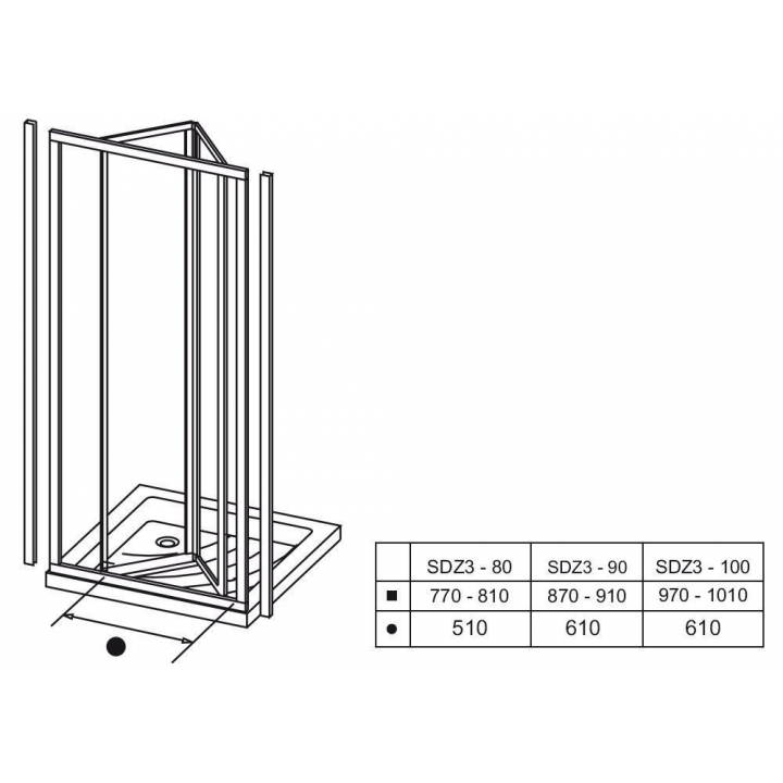 Душевые двери Ravak SUPERNOVA SDZ 3 - 100 Pearl, пластик, 02VA010011