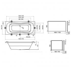 Панель для ванны Ravak CAMPANULA II 170 фронтальная, SONATA, FRESIA, NERIDA, CLASSIC,VANDA II, CZ001