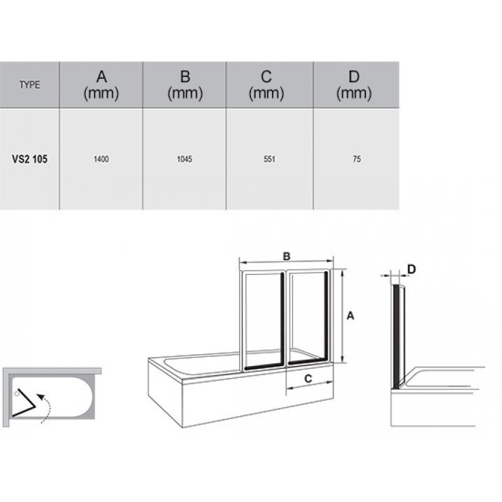 Шторка для ванны Ravak VS2 - 105 TRANSPARENT белый профиль, 796M0100Z1