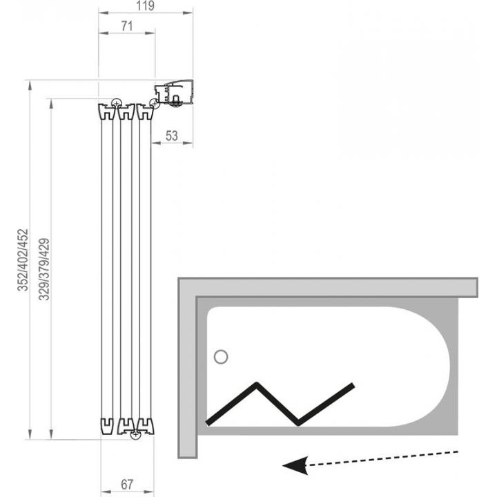 Шторка для ванны Ravak VS3 - 130 TRANSPARENT профиль сатин, 795V0U00Z1