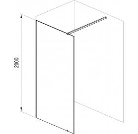 Неподвижная стенка Ravak Walk-IN Wall-110, черный безопасное стекло, GW9WD0300Z1