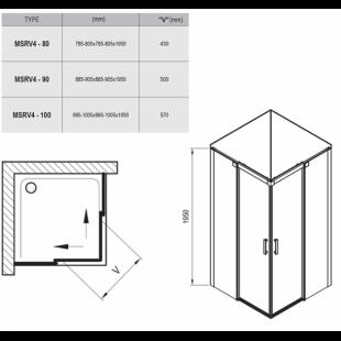 Душевой уголок Ravak Matrix MSRV4-100/100 полированный алюминий+Transparent , 1WVAAC00Z1