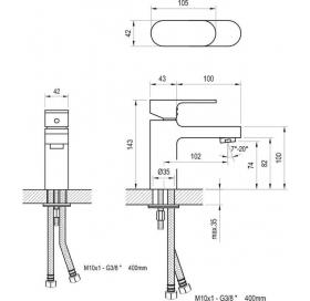 Смеситель для умывальника без открывания стока Ravak Chrome CR 012.00, X070041