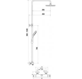 Душевая штанга з термостатическим смесителем, подвижная Ravak TERMO TE 091.00/150, X070058